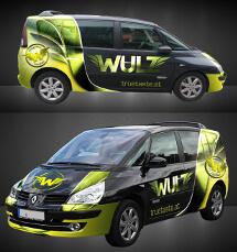 Design einer Fahrzeugbeschriftung für naturbelassene Produkte