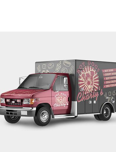 Fahrzeugbeschriftung für Foodtruck - Fahrzeugbeschriftung-Design Beispiel