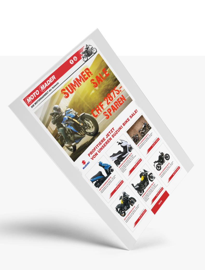 Newsletter-Design für Motomader - Newletter-Design Beispiel