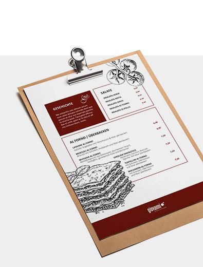 Individuelles Speisekarten-Design zum bezahlbaren Preis